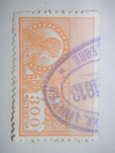 selo brasil - fiscal - 300 rs - thesouro nacional - 1912