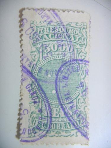 selo brasil - fiscal - 5000 rs - e. u. do brazil - 1894
