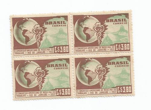 selo brasil,quadra 2°congr amer medicina trab 1952,mint.dscr