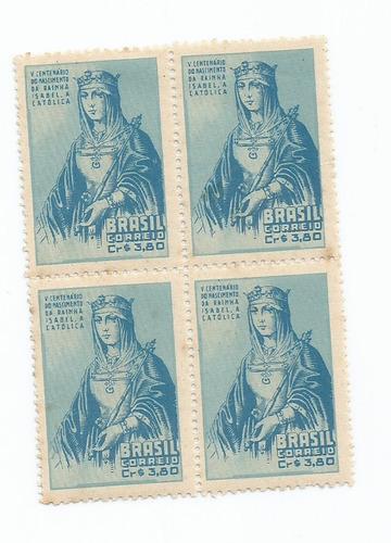 selo brasil,religião/quadra 5°cent isabel a católica 52,mint