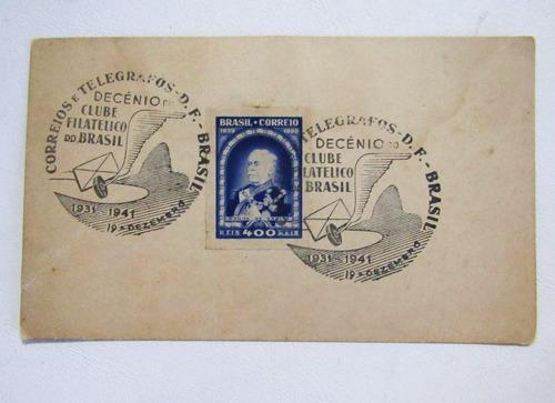 selo duque de caxias 1939 com cartão e carimbo filatélico