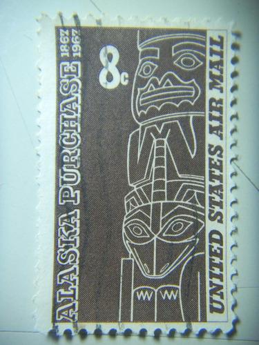 selo eua - aéreo - centenário da compra do alaska- 8c - 1967