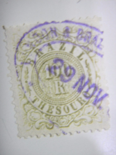selo fiscal - 100 rs  - thesouro brazil - 1890