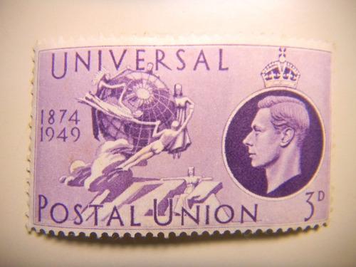 selo inglaterra - 75 anos união postal universal - 3 p- 1949