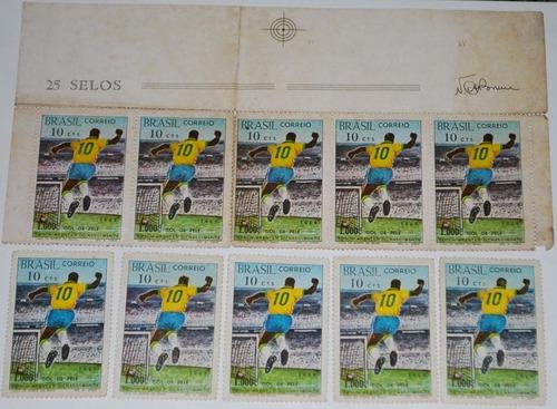 selo pelé lote c/10 selos milésimo gol edson arantes 1969
