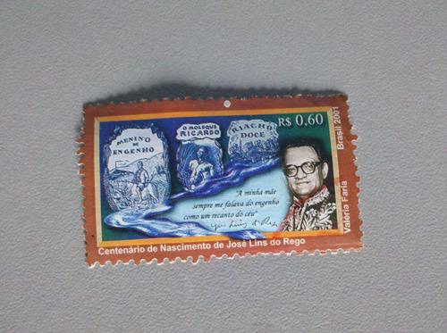 selo postal brasil 2001 centenário de nas. josé lins do rego