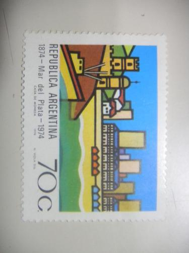 selos argentina - 100º aniversário de mar del plata - 1974