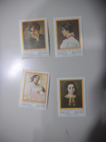 selos chile - ano internacional da mulher - pinturas inantis