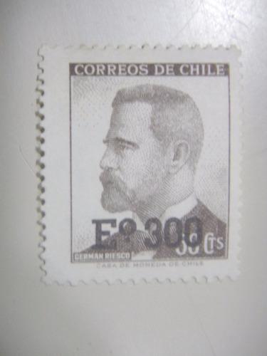 selos chile - selo padrão - 1974 - sobretaxado
