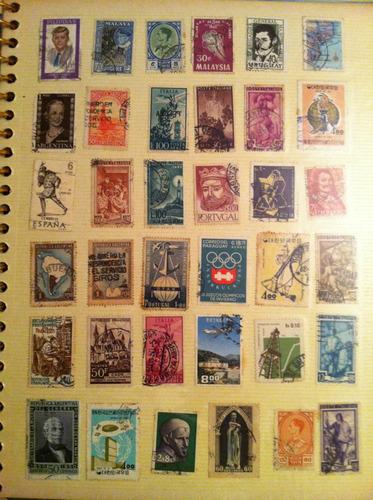 selos  raros antigos colados na pagina