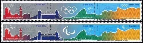 selos se-tenant entrega das bandeiras olímpica e paralímpica