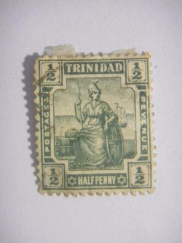 selos trinidad  - britannia - 1/2 penny - 1909