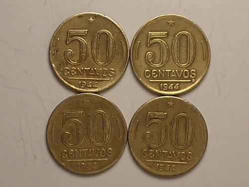 sem sigla) 4 moedas 50 centavos - 1944 (escassas)