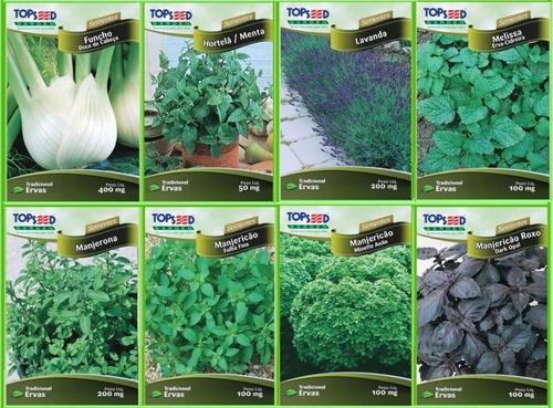 sementes de ervas temperos e plantas medicinais - 32 pacotes