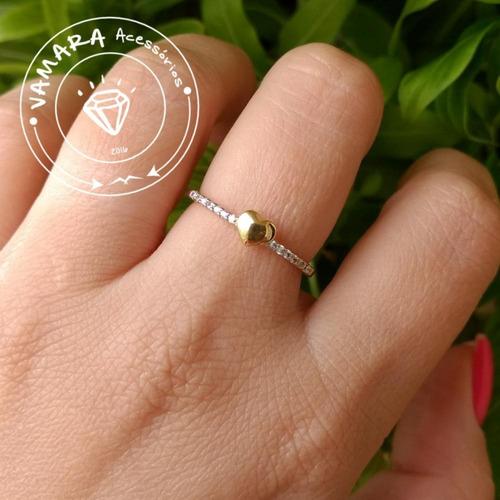 semi jóia - anel coração e zircônias mod 1 aro 14