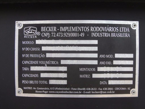 semi reboque basculante becker 2011 preta 25m³