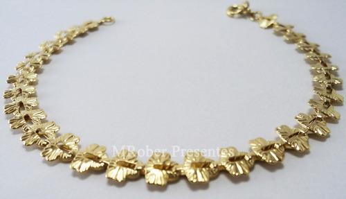 semijoia pulseira folheado ouro borboleta