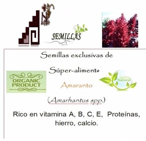 semillas de amaranto + biblia del horticultor 300 pag.