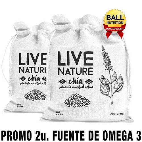 semillas de chia x 500 g livenature (promo 2 unidades)