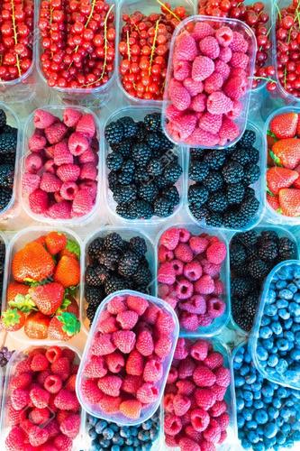 semillas de frambuesa de colores