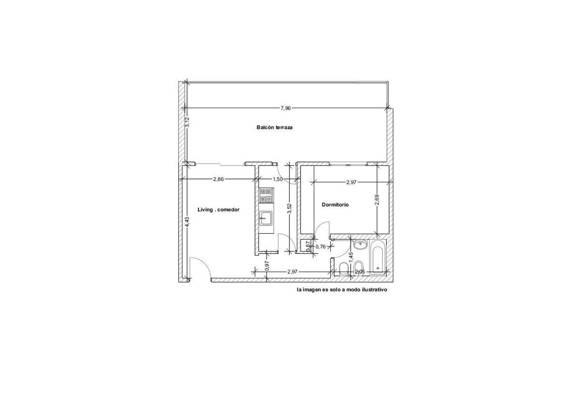 semipiso 2 ambientes con balcón terraza