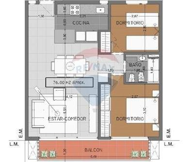 semipiso céntrico de 2 dormitorios en la plata
