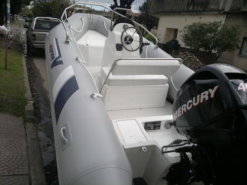 semirrigido 4,6m matrizado con mercury 40 hp 4 tiempos okm