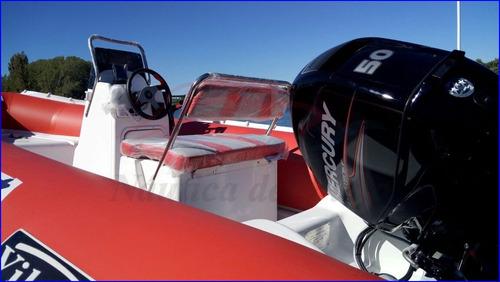 semirrigido 490 con motor 4 tiempos mercury 50 hp inyeccion