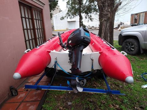 semirrígido shark con motor power tec 15 hp y trailer