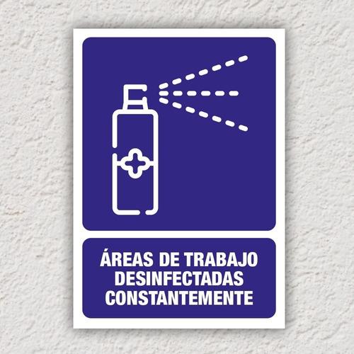 señalamiento áreas de trabajo desinfectadas constant 24x34cm