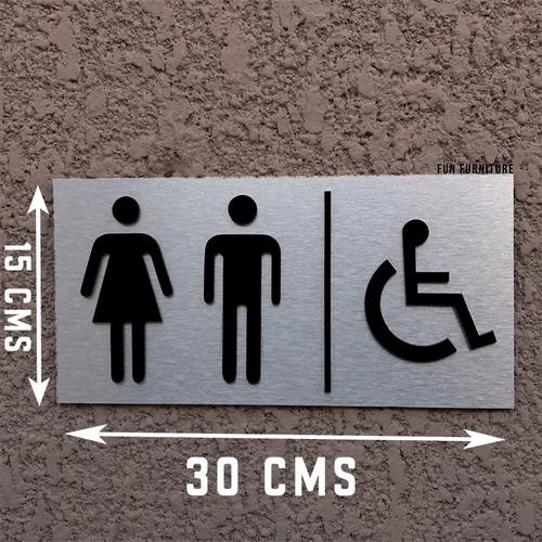 señalética para sanitarios y baños aluminio m4