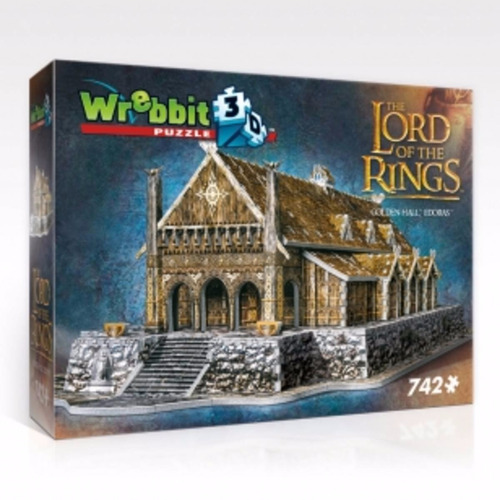 senhor dos anéis hobbit puzzle 3d edoras hall dourado 742pcs