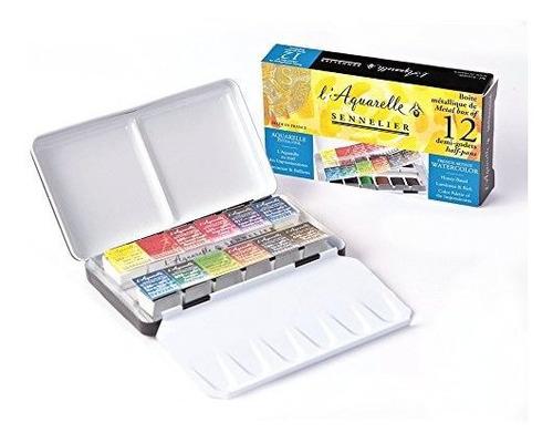 sennelier laquarelle french watercolor pintura metal caja de