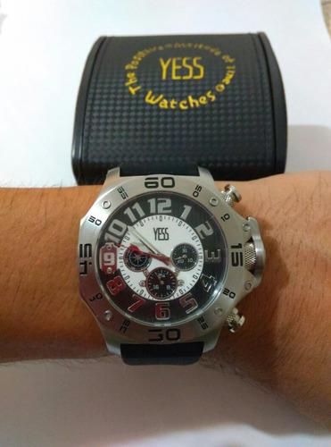 sensacional reloj yess original de caballero con calendario