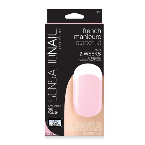 sensationail kit completo de manicura francés con esmalte