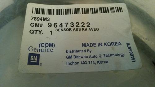 sensor abs delantero derecho chevrolet aveo 100% original gm
