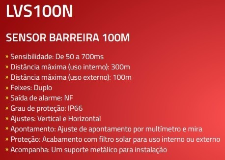 sensor barreira iva ativo duplo feixe 100m luxvision