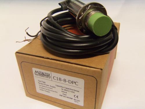 sensor capacitivo m18 pnp 1na+1nf c18-8-dpc metaltex