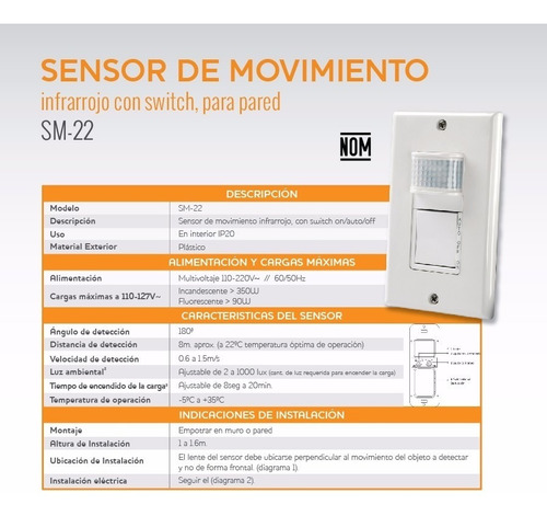 sensor de movimiento 180° pared infrarrojo con switch 8 mts