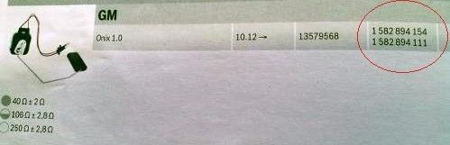 sensor de nível do combustível gm onix 1582894111 1582894154