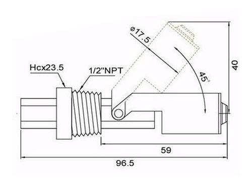 sensor de nivel líquido agua interruptor de flotador 1/2 npt