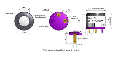 sensor de oxigênio o2-a3 p/ detectores de gases