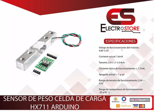 sensor de peso hx711 celda de carga 5kg arduino