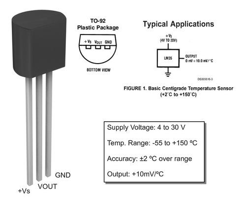 sensor de temperatura lm 35 lm-35 lm35 dz to-292 arduino