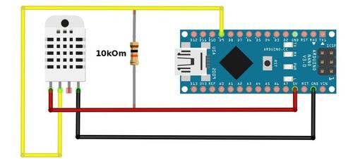 sensor de temperature y humedad dht-22 arduino raspberry pic
