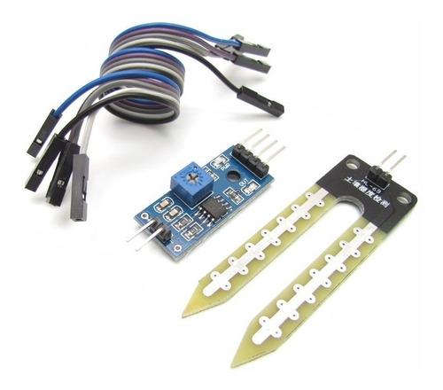 sensor de umidade de solo com cabos para projetos arduino