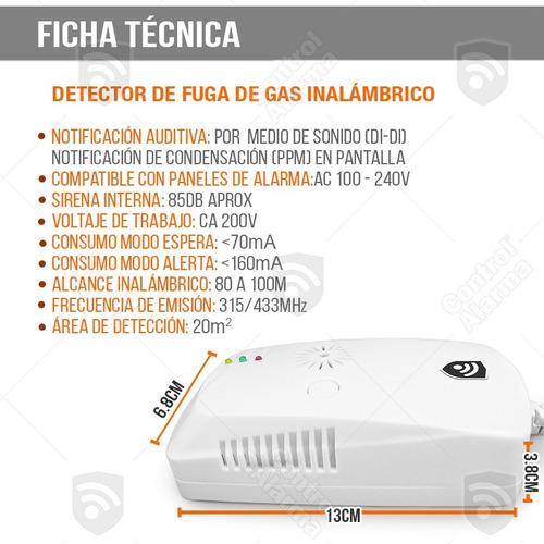 sensor detector gas inalambricos alarma casa negocio alerta
