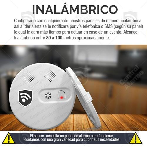 sensor detector humo inalambrico alarma casa negocio alerta