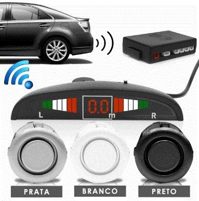 sensor estacionamento ré march 4 pontos prata display led