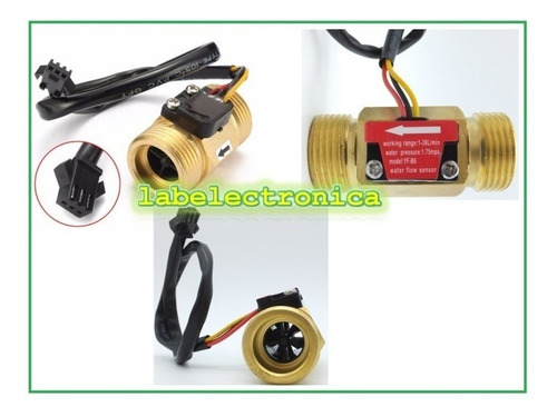 sensor flujo líquidos caudalimetro 3/4 pulg de cobre 30lpm